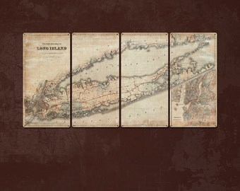 """Vintage Map of Long Island METAL Quadtriptych 48x24"""" FREE SHIPPING"""