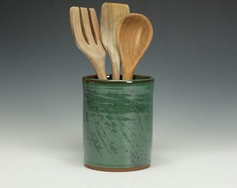 Spoon/ Utensil pottery jar.  Doubles as wine chiller.  Green.  Ready to ship.