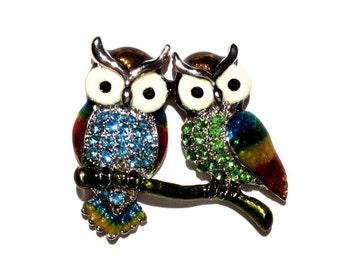 Owl Brooch, Rhinestone Brooch, Animal Brooch, Enamel Brooch, Pin