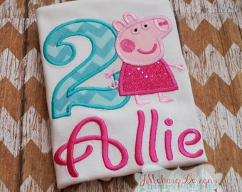 Peppa Pig Birthday Custom Tee Shirt - Customizable -  Infant to Youth 128
