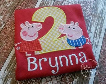 Peppa Pig Birthday Custom Tee Shirt - Customizable -  Infant to Youth 205