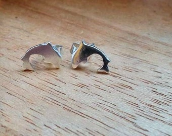 Sterling Silver Dolphin Stud Earrings Sea Nature Jewellery