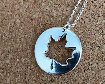 Maple Necklace, Maple Jewelry, Autumn Pendant, Canadian Symbol, Sterling silver Maple, Gift for her