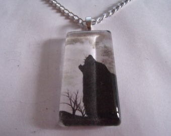 Wolf Glass Pendant Necklace