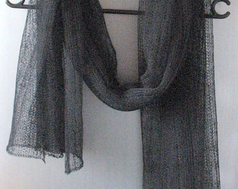 Linen Scarf Black Shawl Wrap Stole Light, Transparent