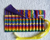 Rainbow Print  Fabric Roll Up Crochet Hook Holder with 12 Bamboo Crochet Hooks