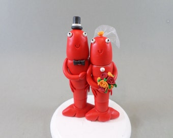 Craw-fish Personalized Wedding Cake Topper