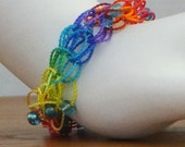 Rainbow Beaded Bracelet, Fiesta Rainbow Knitted Bracelet, Fiesta Nylon Slip On Bracelet, Rainbow Slide On Bracelet, Stack Bracelet, Bracelet