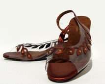 60s Lucite Wedge Shoes Copper Metallic Leather Deadstock 7