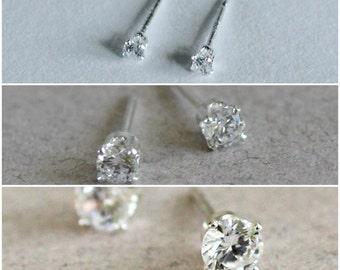 Cubic Zirconia Stud Earring Set - 2mm 3mm 4mm Set of 3 CZ Diamond Studs - April Birthstone - Wedding Earrings - Gift for Her