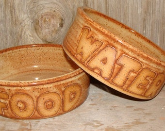 Dog Dishes With Natural Clay Lettering For Your Four Legged Friend