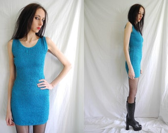 90's punk/rave allover shirred blue stretch cotton mini dress