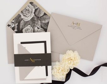 Wedding Invitations, Floral Wedding Invitation, Black and Gold, Roses, Modern, Urban Chic Wedding Invitation - Avery Sample