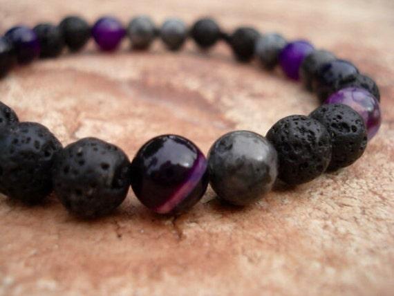 Black Beaded Bracelet, Black Bracelet, Lava Bracelet, Purple Bracelet, Women Bracelet, Mens Bracelet, Stackable Bracelets, Gemstone Bracelet