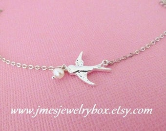 Silver flying bird anklet (Adjustable)