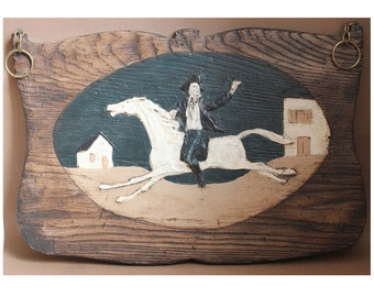 Vintage Hand Painted Faux Wood Fiberglass Wall Hanging- Paul Revere on Horse