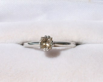Champagne Diamond Ring Princess Cut Solitaire Engagement Ring Wedding Ring Promise Ring Sterling Silver