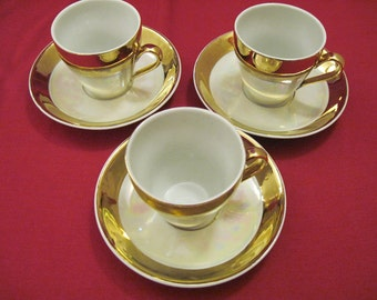 Demi Tasse Coffee cups and saucers, Gilt and white band porcelain - Art Deco 1930