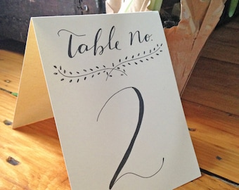 Handwritten Calligraphy Stand-up Table Numbers with Branch Design