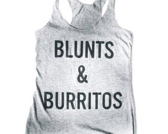 Blunts and Burritos Tank, Racerback, Tank Top, Tri Blend Level Apparel, weed, pot, marijuana, vegan,