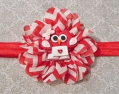 Red Owl Be Your Valentine Inspired Clay Chiffon Flower Headband or Clip