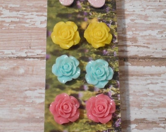 Set of 4 Flowers & Easter Eggs Earrings