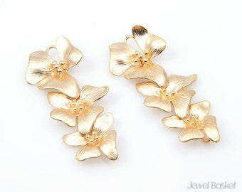 3 Orchid Flower Pendant - 2pcs 3 Orchid Flower Necklace Jewelry Connector - Brass / 14mm x 35mm / BMG167-C
