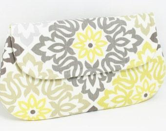 Grey and Yellow Clutch, Wristlet, Cross Body - Wedding Clutch - Bridesmaid Clutch