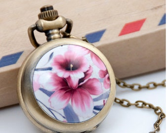 Flower Pocket Watch Charms Pendant   25MMx25MM