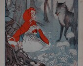 Beautiful Vintage Red Riding Hood Original Print/Book Plate from Children's Vintage English Encyclopedia