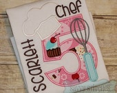Chef Baking Numbers Machine Embroidery Applique Design