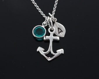 Sterling Anchor Necklace, Personalized Anchor Necklace, 925 Sterling silver Pendant and chain. Choose Initial birthstones, Anchor Jewelry