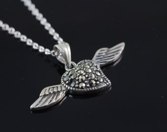 925 Sterling silver heart with wings Necklace, Silver winged heart Jewelry, wings heart pendant, flying heart necklace CH 793
