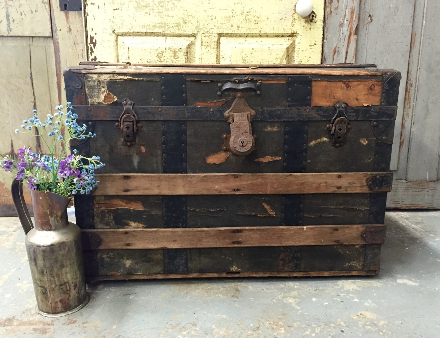 Antique Steamer Trunk Manufactured For R H Macy And Co