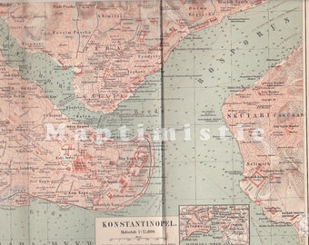 1895 Constantinople and the Bosphorus Strait, present Istanbul, Turkey at the end of the 19th Century Original Antique Map