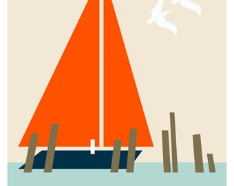 Vintage Inspired Sailboat Print - Mid Century