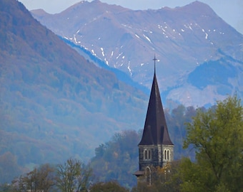 Steeple and Mountains, Switzerland Photography, Landscape, Travel Photography, Art Print, Wall Decor