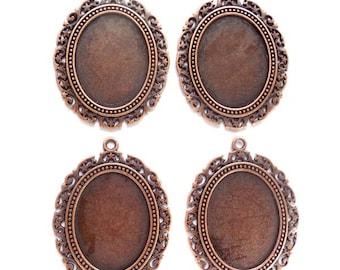 4 Antique Copper Cabochon Settings - 22A-1