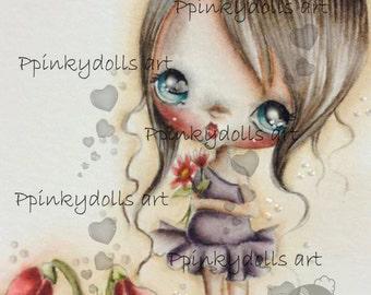 INSTANT DOWNLOAD Digital Digi Stamps..by Chrishanthi's art,Cyclamen girl''
