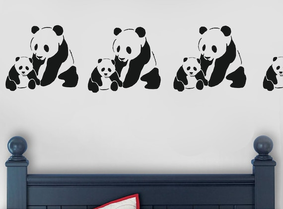 Panda bear stencil panda nursery home decorating arts craft for Panda bear decor