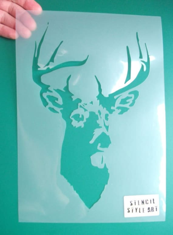 Large Painting Stencils For Walls : Stag head stencil deer decor home decorating arts