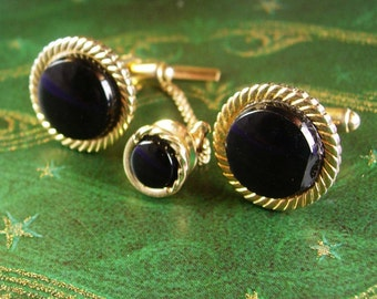 Wedding Cufflinks Vintage Black Onyx Elegant Gold Motifs Tie Tack Set Designer Hadley Men's Formal wear Jewelry gold mens cuff links