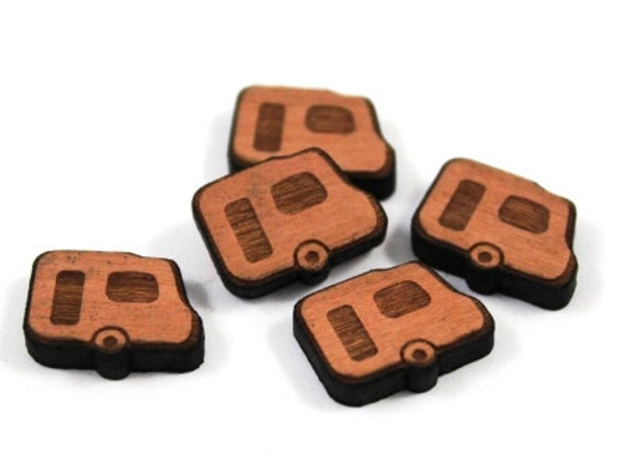 Laser Cut Supplies-8 Pieces.Retro Caravan Charms - Laser Cut Wood -Earring Supplies- Little Laser Lab Sustainable Wood Products