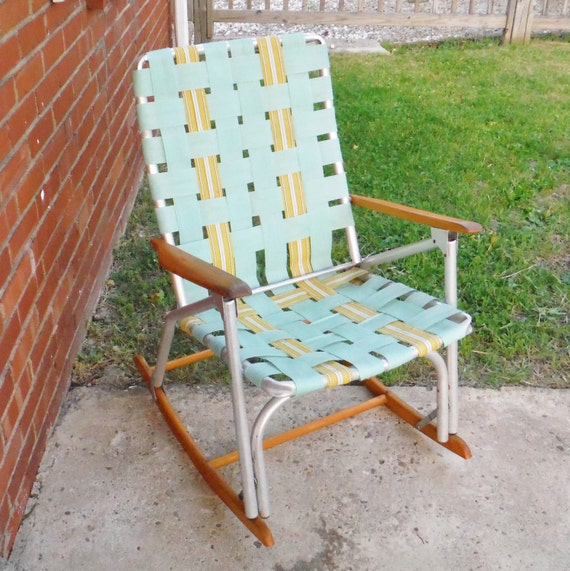 Vintage woven folding lawn chair rocker by recycledwithcare