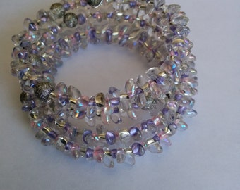 Japanese Bracelet made with Japanese Miyuki Long Magatama crystal seed beads, purple lined Iris, essentials