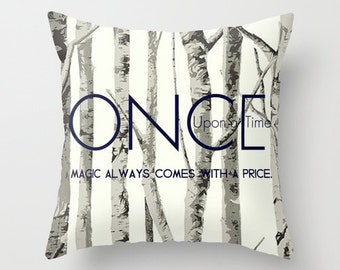 Once Upon a Time Throw Pillow Television Show 16x16 Graphic Decor Cover TV Pop Culture Fairy Tale Mythical Birch Trees Navy Blue Magic Love
