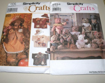 TWO Uncut TOY BEAR Patterns by Simplicity Crafts