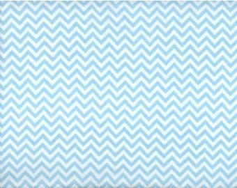 Chic Chevron Flannel Fabric - blue and white zig zags - David Textiles Dreamland Flannel Basics - by the YARD