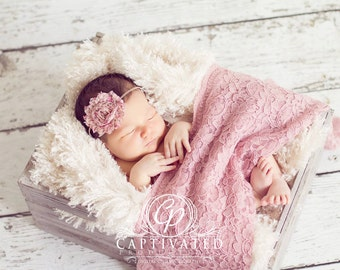 Newborn PHOTO PROP SET: Rose Lace Wrap with a Scalloped Edge and 1 Headband for Newborn Photo Shoot at a Discounted Price, Newborn Wrap Set