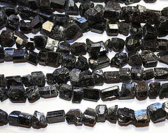 Black Tourmaline Rough nugget Strand Beads 15.5 Inch a004